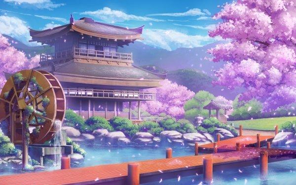 Anime Original Water Sakura House HD Wallpaper | Background Image