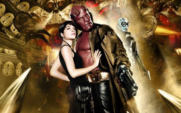 Movie Hellboy II: The Golden Army Hellboy Ron Perlman Liz Sherman Abe Sapien Selma Blair HD Wallpaper | Background Image