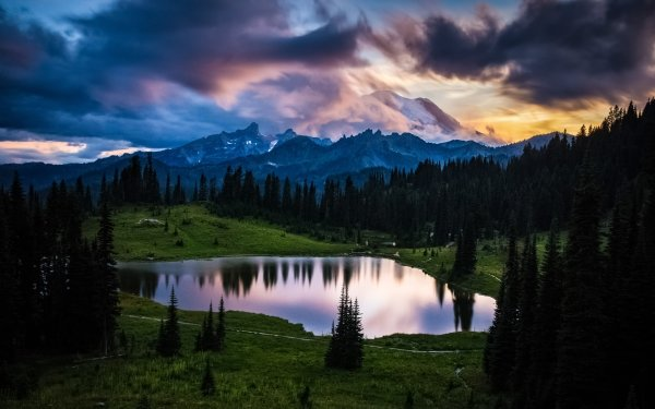 Earth Mount Rainier Mountains Forest Mountain Cloud Lake HD Wallpaper | Background Image