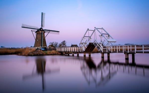 Man Made Windmill Buildings Museum Netherlands Bridge Kinderdijk HD Wallpaper | Background Image