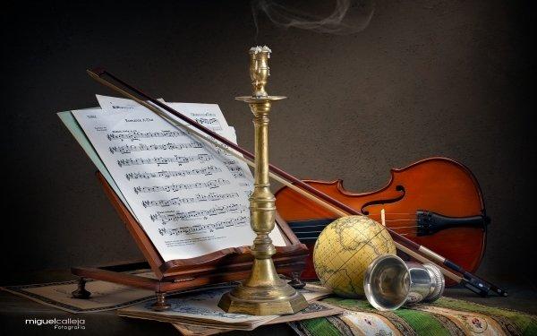 Music Violin Still Life Globe Sheet Music HD Wallpaper | Background Image