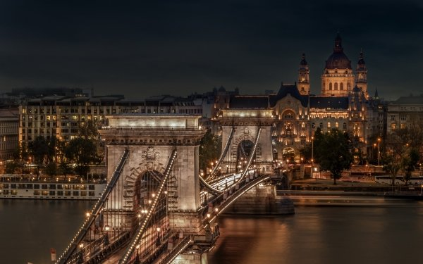Man Made Chain Bridge Bridges Hungary Budapest Bridge City HD Wallpaper   Background Image