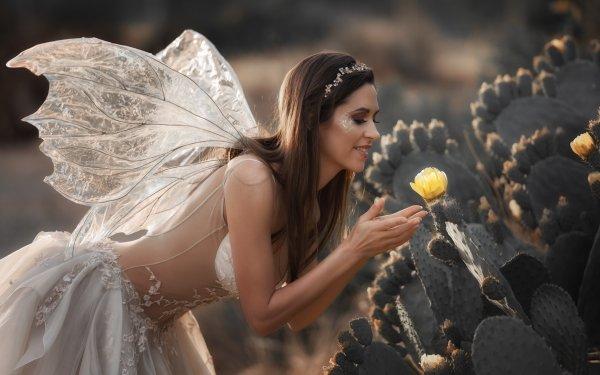Women Cosplay Cactus Flower Wings Dress Brunette Fairy HD Wallpaper | Background Image