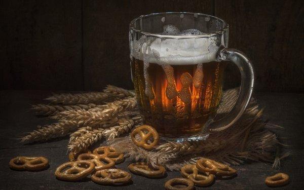 Food Beer Glass Pretzel Drink Still Life HD Wallpaper | Background Image