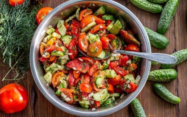 Food Salad Tomato Cucumber HD Wallpaper | Background Image