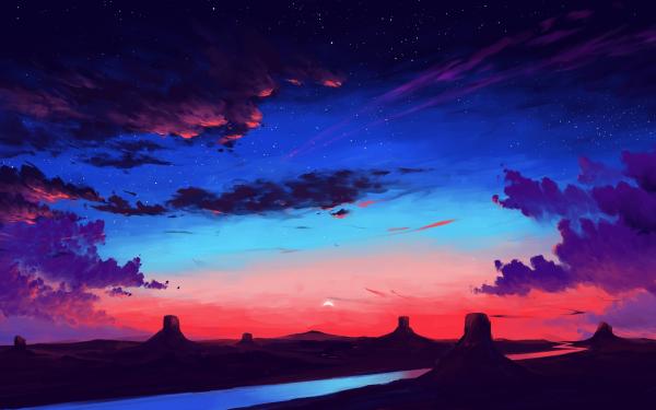 Artistic Landscape Sunset River HD Wallpaper   Background Image
