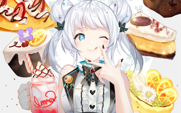 Anime Original Girl Food Cookie Cake Crêpe White Hair Blue Eyes HD Wallpaper | Background Image