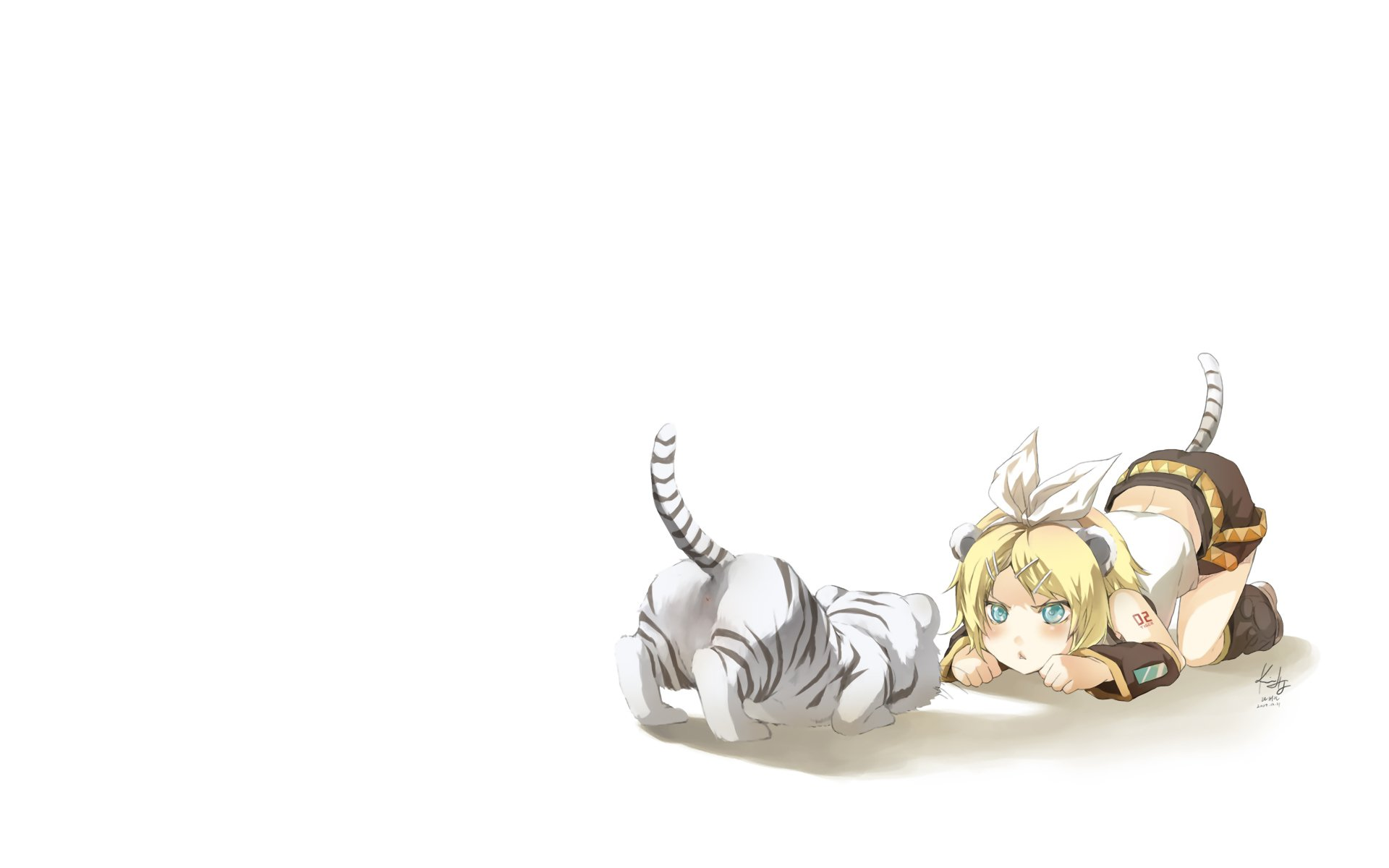 Anime - Vocaloid  Rin Kagamine Tiger Wallpaper
