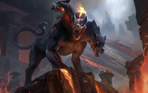 Fantaisie Cerberus Animaux Fantastique Lava Créature Fond d'écran HD | Arrière-Plan