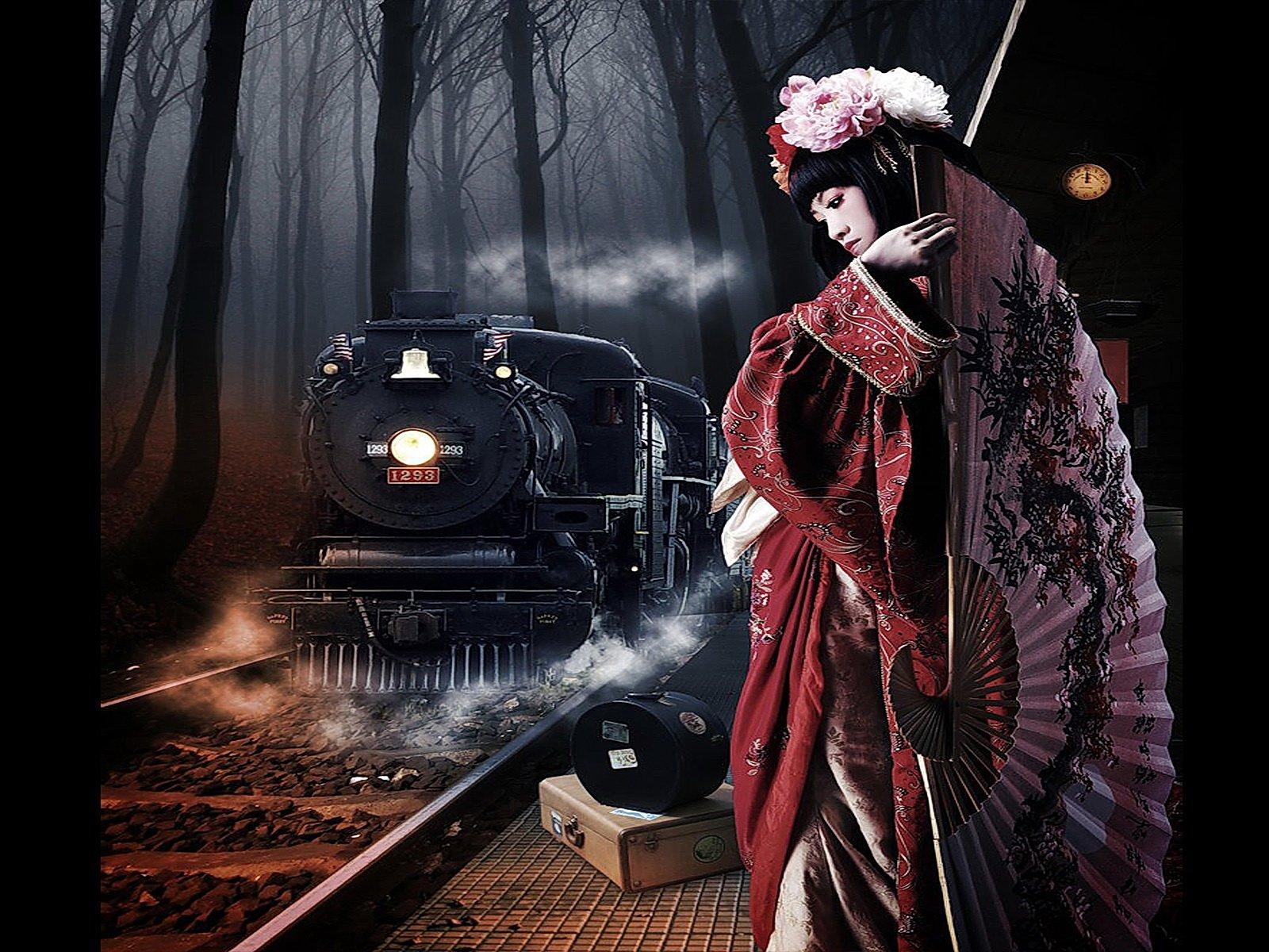 Компьютерная Графика - Научная Фантастика  Красный Дерево Тьма Часы Восток Красивые Девушка Поезд Обои