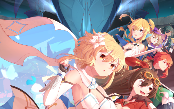 Video Game Genshin Impact Amber Jean Lisa Lumine Venti Diluc Kaeya HD Wallpaper | Background Image