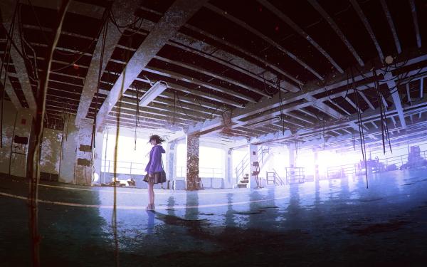 Anime Girl Skirt Short Hair Light Parking Garage HD Wallpaper | Background Image