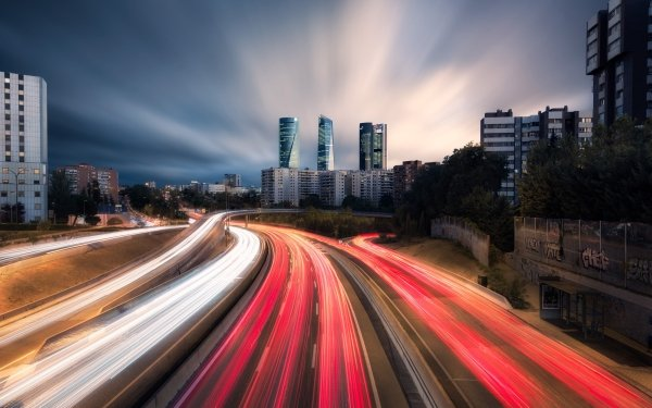 Photography Time-lapse Spain Madrid Highway Building HD Wallpaper   Background Image