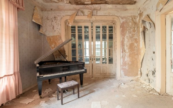 Music Piano Room Abandoned HD Wallpaper | Background Image