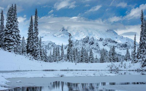 Earth Mount Rainier Mountains Winter Snow Mountain Landscape Nature HD Wallpaper | Background Image