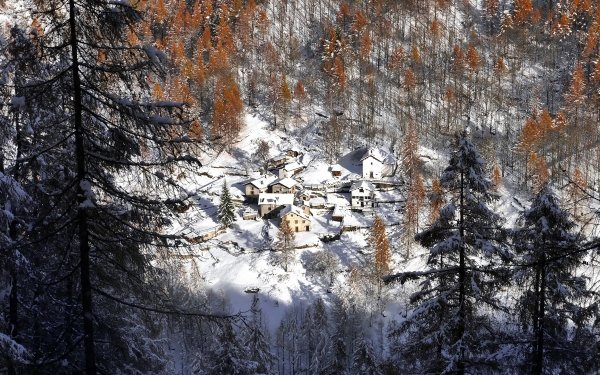 Man Made Village Lombardy Italy Forest Winter HD Wallpaper   Background Image