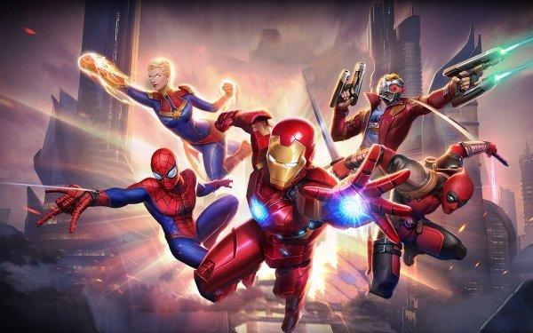 Jeux Vidéo Marvel Super War Iron Man Carol Danvers Spider-Man Peter Parker Star Lord Deadpool Wade Wilson Captain Marvel Tony Stark Marvel Comics Fond d'écran HD | Image