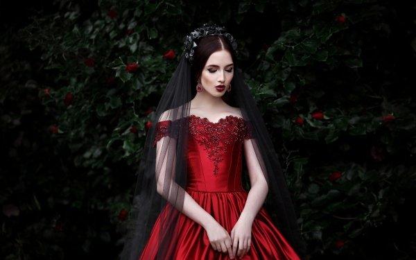 Women Mood Woman Model Girl Lipstick Red Dress HD Wallpaper | Background Image