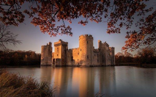 Man Made Bodiam Castle Castles United Kingdom Castle England Building Lake Reflection HD Wallpaper | Background Image