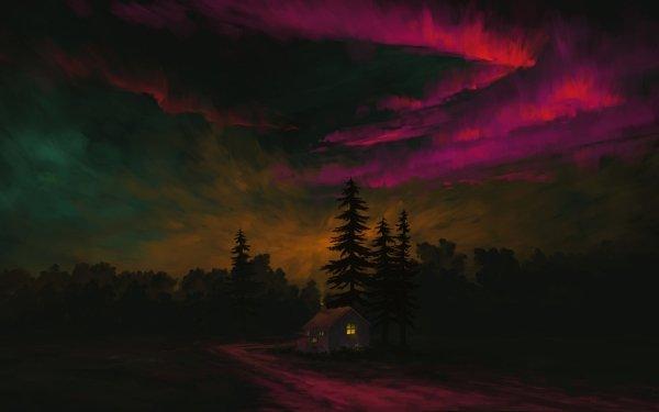 Artistic Landscape Night Sky HD Wallpaper   Background Image