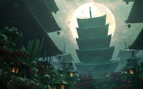 Fantasy Oriental Pagoda HD Wallpaper   Background Image