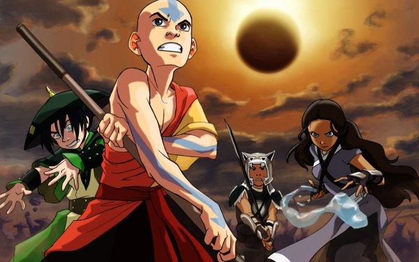 Anime Avatar: The Last Airbender Avatar (Anime) Katara Toph Beifong Sokka Aang Black Hair Brown Hair Bald Grey Eyes Blue Eyes Sword Weapon Moon HD Wallpaper | Background Image