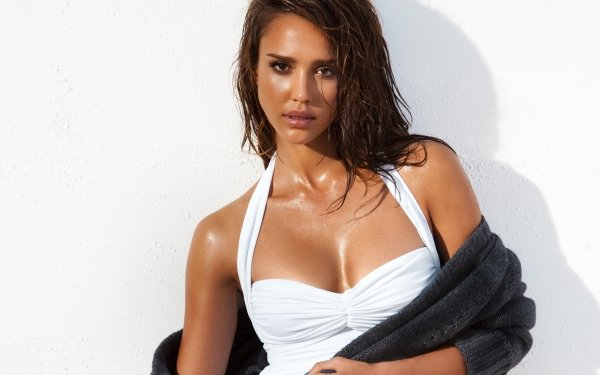 Celebrity Jessica Alba Actresses United States Actress American Brunette Brown Eyes White Dress HD Wallpaper | Background Image