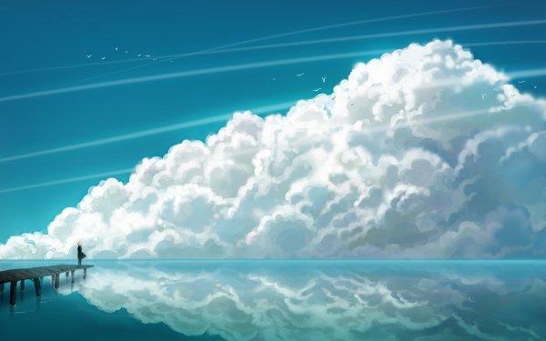 Anime Original Cloud Reflection Pier Ocean HD Wallpaper | Background Image