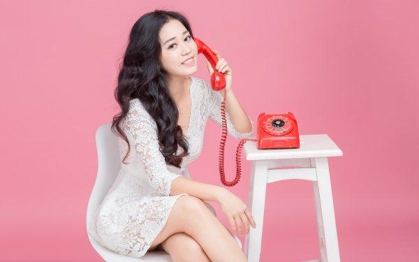 Women Asian Woman Model Black Hair White Hair Smile Telephone White Dress HD Wallpaper   Background Image