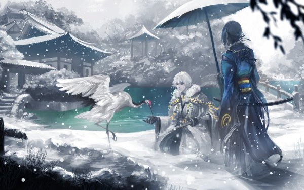 Anime Touken Ranbu Mikazuki Munechika Tsurumaru Kuninaga HD Wallpaper | Background Image