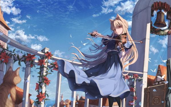 Anime Girl Animal Ears Bell Blonde Cat Cloud Long Hair Red Eyes Skirt Violin HD Wallpaper | Background Image