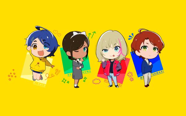 Anime Wonder Egg Priority Ai Ohto Neiru Aonuma Rika Kawai Momoe Sawaki Chibi HD Wallpaper | Background Image