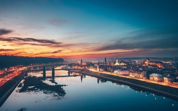 Man Made Kaunas Cities Sunset City Lithuania Reflection HD Wallpaper | Background Image