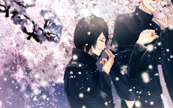 Anime Jujutsu Kaisen Satoru Gojo Shoko Ieiri Suguru Geto Black Hair School Uniform Cherry Blossom Sakura Blossom HD Wallpaper | Background Image