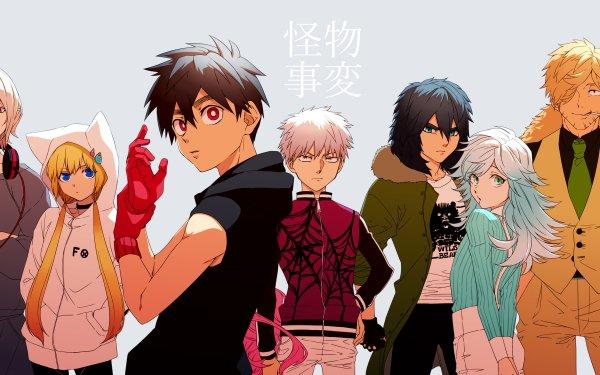Anime Kemono Jihen Blonde Black Hair Red Eyes Headphones Kon Akira Kabane Kusaka Shiki Tademaru Kohachi Inugami HD Wallpaper | Background Image