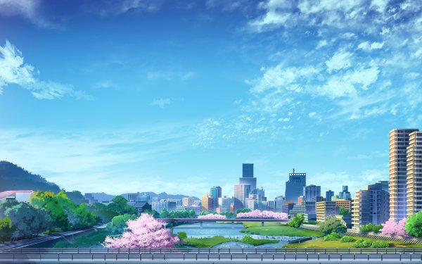 Anime City Sky Building HD Wallpaper | Background Image
