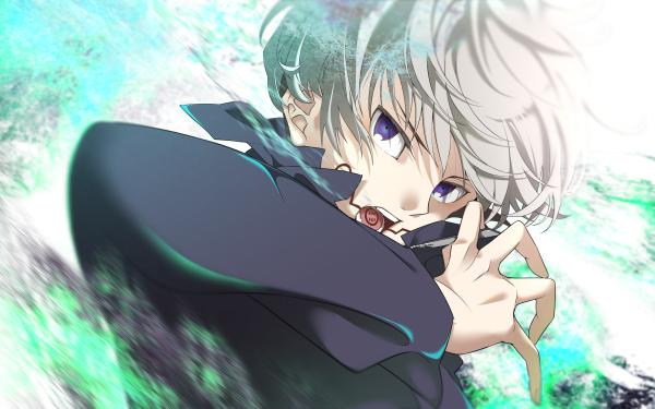 Anime Jujutsu Kaisen Toge Inumaki White Hair Blue Eyes HD Wallpaper   Background Image