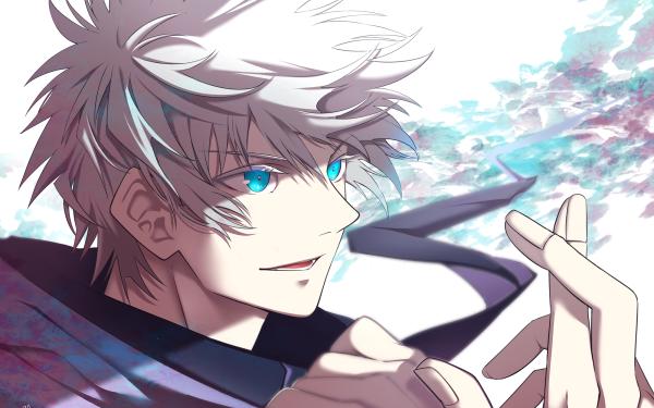 Anime Jujutsu Kaisen Satoru Gojo White Hair Blue Eyes HD Wallpaper   Background Image