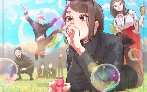 Anime Jujutsu Kaisen Satoru Gojo Suguru Geto Shoko Ieiri Brown Hair Brown Eyes White Hair Black Hair School Uniform Bubble HD Wallpaper | Background Image