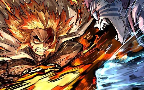 Anime Demon Slayer: Kimetsu no Yaiba - The Movie: Mugen Train Akaza Kyojuro Rengoku Fondo de pantalla HD | Fondo de Escritorio