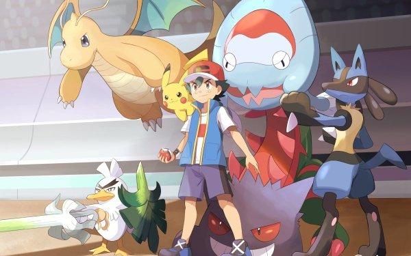 Anime Pokémon Dracovish Ash Ketchum Sirfetch'd Lucario Dragonite Gengar Pikachu Pokeball Cap Shorts Black Hair Brown Eyes HD Wallpaper | Background Image