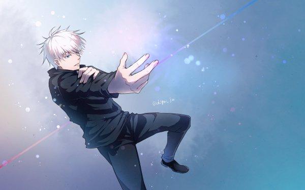 Anime Jujutsu Kaisen Satoru Gojo White Hair Blue Eyes School Uniform Hand HD Wallpaper   Background Image