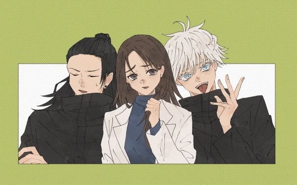 Anime Jujutsu Kaisen Satoru Gojo Suguru Geto Shoko Ieiri Brown Hair Black Hair White Hair Blue Eyes School Uniform Brown Eyes HD Wallpaper | Background Image