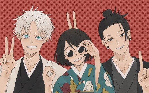 Anime Jujutsu Kaisen Satoru Gojo Suguru Geto Shoko Ieiri Black Hair White Hair Blue Eyes Glasses Yukata HD Wallpaper | Background Image