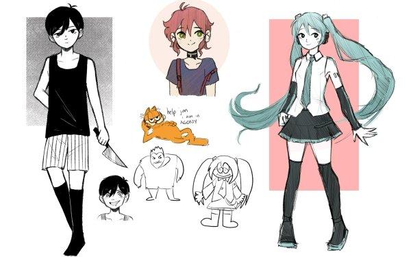 Video Game Collage Garfield Omori Hatsune Miku HD Wallpaper | Background Image