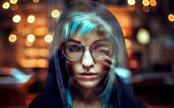 Mujeres Cara Woman Modelo Bokeh Glasses Fondo de pantalla HD | Fondo de Escritorio