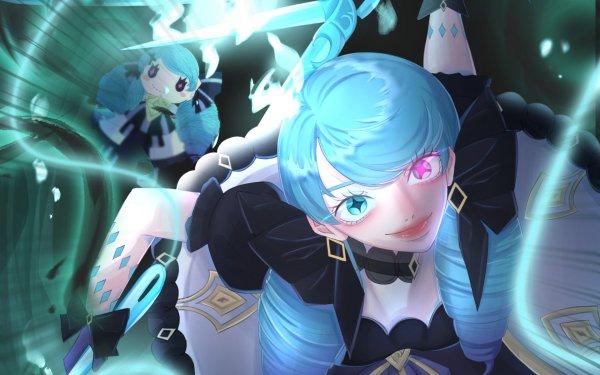 Video Game League Of Legends Gwen Girl Blue Hair Heterochromia HD Wallpaper | Background Image