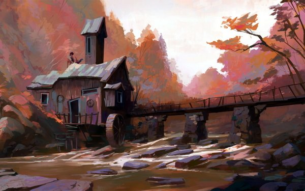 Artistic House Watermill HD Wallpaper | Background Image