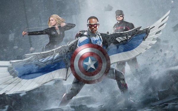 Séries TV Falcon et le Soldat de l'hiver Sam Wilson Sharon Carter John Walker Captain America Anthony Mackie Wyatt Russell Emily Vancamp Agent 13 Superhero Fond d'écran HD | Image