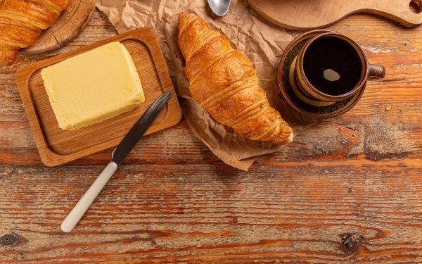 Food Breakfast Croissant Butter Coffee HD Wallpaper | Background Image